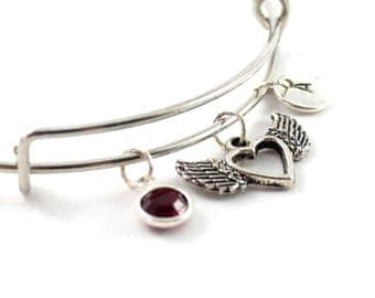 HEART charm bangle, heart charm, personalized bangle, initial bangle, initial hand stamped, birthstone bracelet, personalized