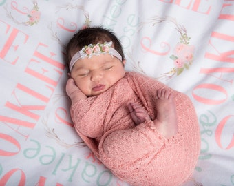 Monogrammed Baby Blanket, Baby Name Blanket, Hospital Take home Blanket, Baby Shower Gift, Newborn Photo Prop, Swaddle Blanket
