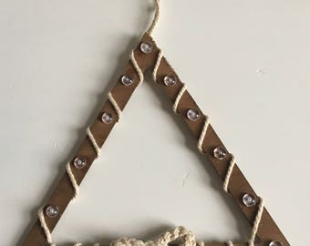 Wood triangle crochet decoration