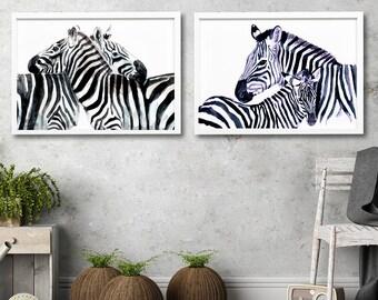 Black and white wall art Zebra watercolor set of 2 art prints Modern art decor Contemporary Home decor animal illustration Africa home decor