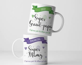 "DUO cups + candle soy custom ""Super Grandma"" and ""Super Grandpa"", ""Great Grandma"" and ""Super Grandpa"" gift, coffee mug"