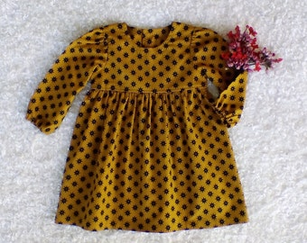 Mustard long sleeve dress / baby dress / party dress / special occasion / Little girls clothing / toddler dress / girls winter dress / dress