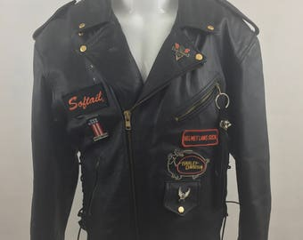 Vintage R Brand Black Leather Biker's Jackets with Harley Davidson Patches & Pins/Size 52