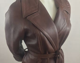 Vintage 1970's Lady Grais Originals Trench Coat with Belt- 100% Leather-Cognac Brown/Made in USA/Size 14 Large