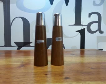 Retro Wood Salt and Pepper Shakers with Chrome Tops Each Stamped with S & P   SHIPPING INCLUDED