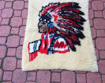 Vintage 70's Latch Hook Native American Rug/ Wall Hanging