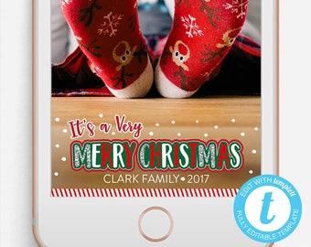 Christmas Snapchat Filter, Christmas Snapchat Geofilter, Editable Snapchat Filter, Templett, Merry Christmas Geofilter, Merry Christmas