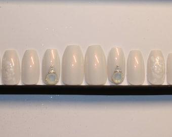 Swarovski Opal Bridal press on nails