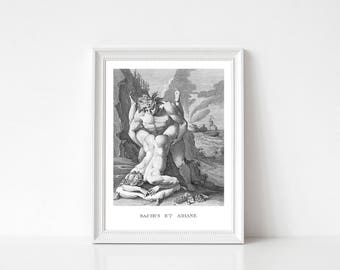 Greek Mythology Print, Erotic Wall Art, Erotic Wall Decor, Bedroom Wall Art, History Wall Art, Bacchus and Ariande, Antique Erotic Print