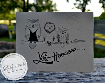 Cute/Funny Hand Drawn Owl Note Cards With Envelopes/Tree