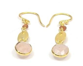 "Rose Quartz Gold Plated Handmade Christmas Gift Earrings "" 8 mm Oval Bezel "" Bezel Fashion Earrings "" Stone Jewelry Earrings (JMI51204)"