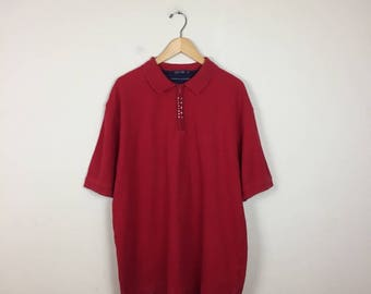 90s Tommy Hilfiger Polo, Tommy Hilfiger Shirt Size XL, Red Tommy Hilfiger Polo