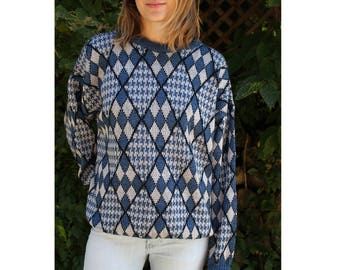 Vintage 70's Argyle And Houndstooth Sweater
