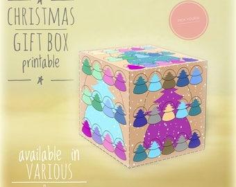 Christmas gift boxes, DIY, printable, Christmas tree, Holiday gift boxes, Christmas art,diy holiday decor, box, gift box, light ocher