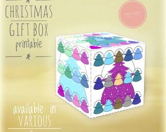 Christmas gift boxes, DIY, printable, Christmas tree, Holiday gift boxes, Christmas art,diy holiday decor, box, gift box, white