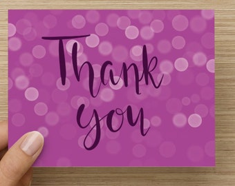 Thank you Cards, Set of 5- Purple thank you notes