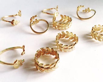 Fine gold plated leaf ring