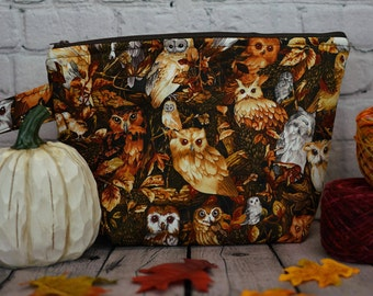Autumn Owls Small Project bag, Knitting project bag, Crochet project bag,  Zipper Project Bag, Yarn bowl, Yarn tote