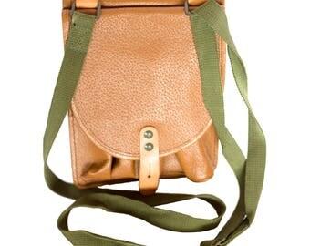 Brown Leather Military Purpuse Bag, Army Bag, Letather Small Crosbody Bag, Collectibles