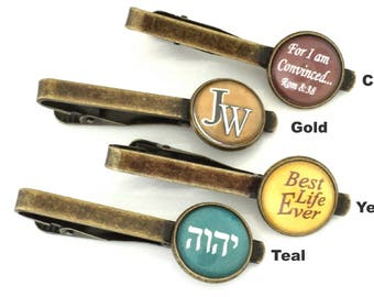 JW antique bronze tie clips/JW tie bars/choice of 4 sayings and colors/JW accessory/jw.org/ties/pioneer gift/baptism gift/tetragrammaton