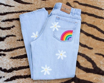 DESERT FOX Rainbow Daisy Denim Jeans
