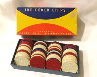 Vintage Embossed Noiseless Unbreakable Poker Chips 66 Chips