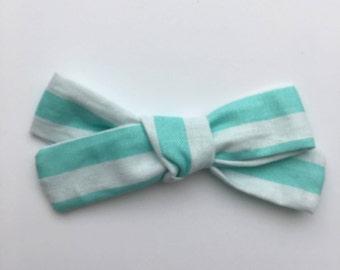Handmade bow/ striped bow/ baby bow/ baby headband/ toddler clip/ available on nylon headband or alligator clip