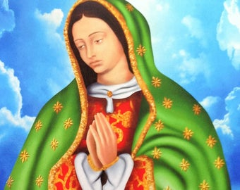 """XL Virgen de Guadalupe Colorful Felt Fabric Panel / Virgin Wall Image / Image Our Lady of Guadalupe Imagen Virgin Mary 35""""X61"""" Giant Image"""