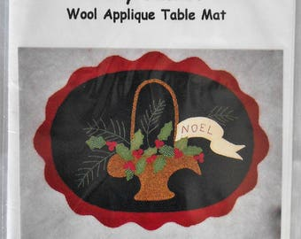 SALE!  Holly Basket Wool Applique Table Mat