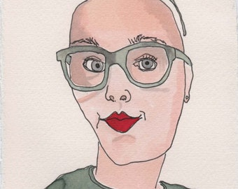 Bald Face. Fine Art, Watercolor Painting, Gift Art, Small Art, Watercolor, Painting