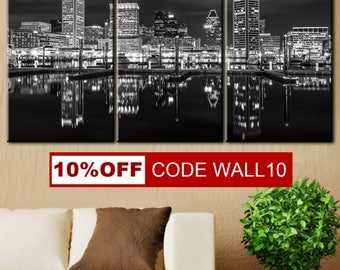 Baltimore Skyline canvas, Wall Art Decor, Canvas art, City print, Black white city, Town canvas, Night city canvas, City canvas art, Skyline