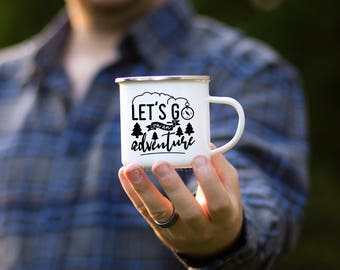 Let's Go On An Adventure Camp Mug, Adventure Enamel Mug, Let's Go On An Adventure Enamel Mug, Adventure Mug, Outdoor Gift for Husband