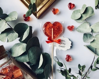 25 personalized bridesmaid lollipop, creative propose, unique wedding favors, customised foodie gifts, gourmet candy, cute red heart sucker