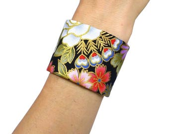 Japanese Fabric Cuff, Obi Style Bracelet, Taylor-Made, Gold black red pink lilac - Oriental / asian floral flowers