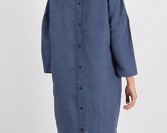 Linen dress, Dress with buttons, Minimal linen dress, blue linen dress, Linen tunic, Stone washed, Linen clothes