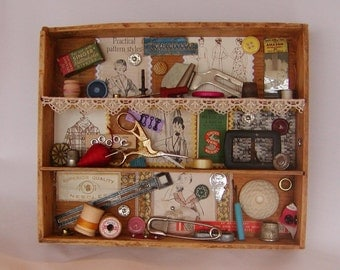 Vintage Sewing Collage Shadow Box / Sewing Accessories, Tools, Patterns,Buttons And More