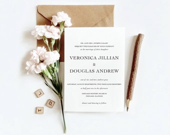 Simple Minimalist Wedding Invitation Suite | Printable Wedding Invitation| RSVP | Details | Printable Invite