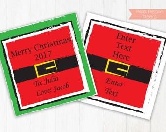 Gift Tag~ Personalized Santa Gift Tag ~ Printable Santa Belt Gift Tag ~ Editable Christmas Gift Tag~ Santa Gift Tag