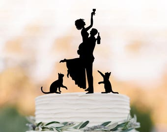 Drunk Bride funny  Wedding Cake topper with two cats silhouette, funny cake topper figurine