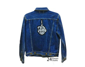 Large Middle Finger Skeleton Large Iron on Patch by 24PlanetsStudio Jacket Patch