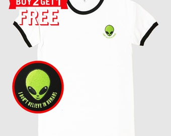 Alien Head I don't believe in humans Embroidered Ringer T-Shirt by 24PlanetsStudio