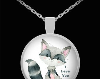 Raccoon I LOVE YOU Cute Necklace Jewelry Gift Present Daughter Spouse Wife Girlfriend Valentine Birthday Bridal