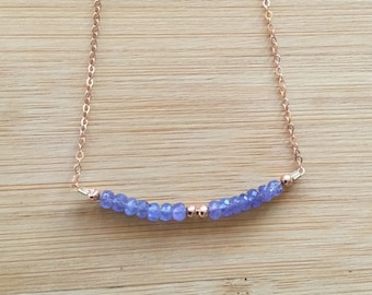 Delicate Tanzanite Necklace, Gold Filled Chain, Rose Gold Jewelry, December Birthstone Necklace, Beaded Layering Necklace, Tanzanite Jewelry
