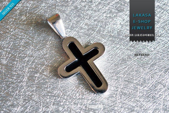 Pendant Black Enamel Cross Sterling Silver white Gold plated Jewelry Greek Art Gift Christian Religious Baptism Collection Men Unisex Moda