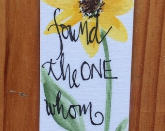 An Original Laminated, Watercolor Bookmark with Sunflower and Scripture