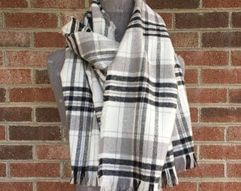 Black, Gray and White Plaid Fringe Scarf | Neutral Flannel Scarf | Women's Scarf | Christmas Scarf | Flannel Fringe Scarf | MADE TO ORDER