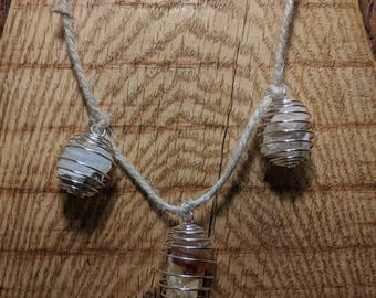 Wire Wrapped Raw Quartz and Citrine Necklace