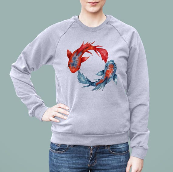 Yin Yang Koi Fish | American Apparel Unisex California Fleece Raglan | Graphic Sweatshirt | Watercolor yoga art| Japanese carp | ZuskaArt