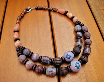 Semi Precious Stone Necklace Handmade Multistrand Necklace Tribal Beaded Jewelry Natural Exotic Jewelry Jasper Wood Beads Tribal Ethnic Bib