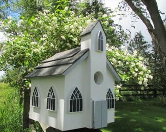 Church Birdhouse, Chapel Bird House, Outdoor Wood Birdhouse, Charming Birdhouse, Functional Birdhouse, Handmade Birdhouse